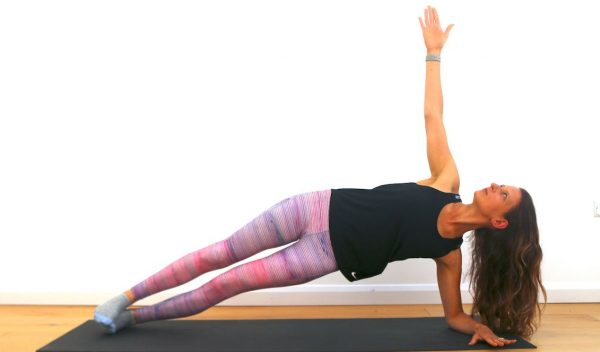 Fitness pilates side plank by Claire Cross Fitness and Wellness