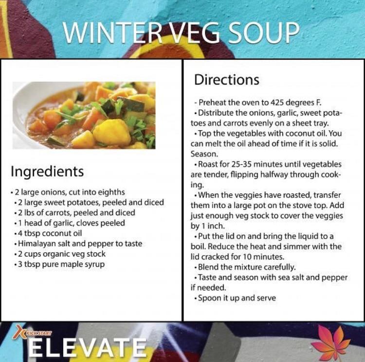 Elevate Programme Winter Veg Soup Recipe